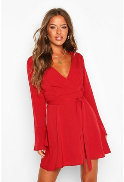 Red Petite Woven Long Sleeve Belted Wrap Dress