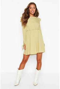 Khaki Petite Frill Detail Tie Sleeve Smock Dress