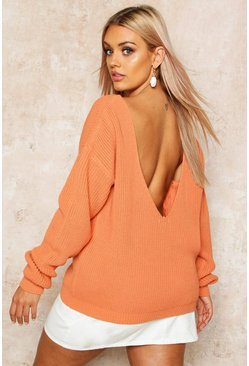 Apricot Plus V-Back Oversized Sweater