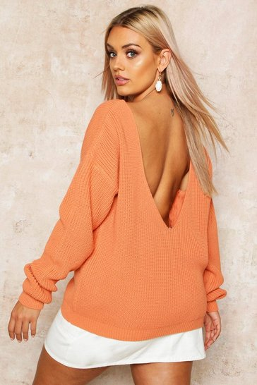 Apricot nude Plus V-back Oversized Jumper
