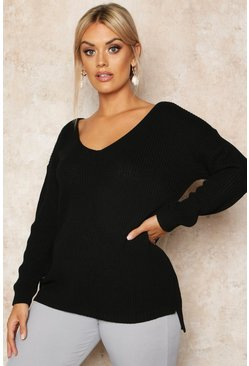 Black Plus Oversized V-Neck Jumper