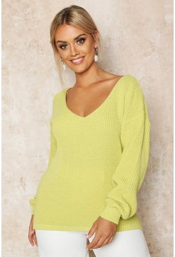 Soft lime yellow Plus Oversized V-Neck Jumper