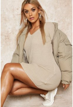 Stone beige Plus Rib V-Neck Jumper Dress