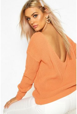 Apricot nude Plus V-Back Oversized Sweater
