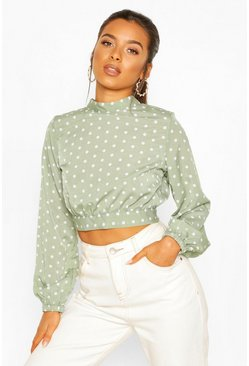 Sage green Petite High Neck Tie Back Spot Blouse