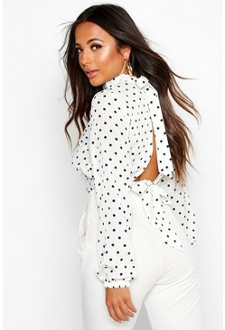 White Petite High Neck Tie Back Spot Blouse