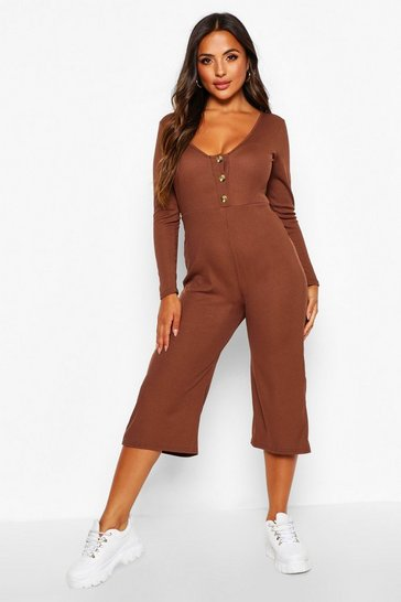 Chocolate brown Petite Rib Mock Horn Button Culotte Jumpsuit