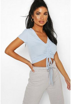 Blue Petite Ribbed Ruched Detail Top