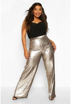 Gun metal metallic Plus Wide Leg Sequin Trousers