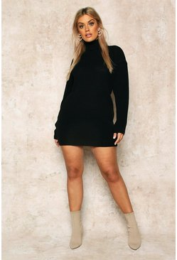 Black Plus Roll Neck Jumper Dress