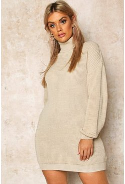 Stone beige Plus Roll Neck Sweater Dress
