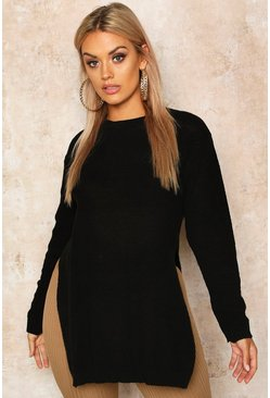 Black Plus Side Split Moss Stitch Tunic Sweater