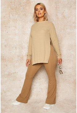Stone beige Plus Side Split Moss Stitch Tunic Jumper