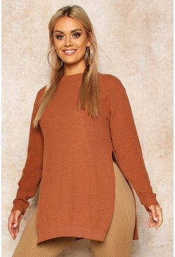 Toffee Plus Side Split Moss Stitch Tunic Sweater