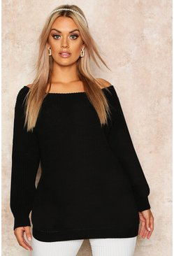 Black Plus Slash Neck Oversized Jumper