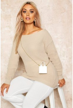 Stone beige Plus Slash Neck Oversized Jumper