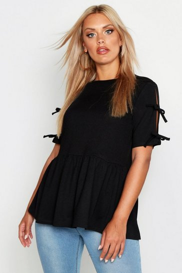 Black Plus Tie Sleeve Detail Smock Top