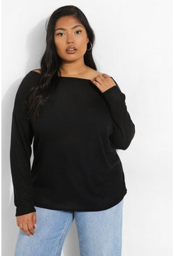 Black Plus Oversized Rib Long Sleeve T-Shirt