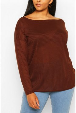 Chocolate Plus Oversized Rib Long Sleeve T-Shirt