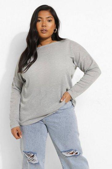 Grey Plus Oversized Rib Long Sleeve T-Shirt