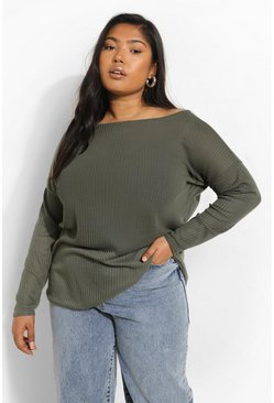 Khaki Plus Oversized Rib Long Sleeve T-Shirt