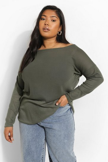 Khaki Green Plus Oversized Rib Long Sleeve T-Shirt