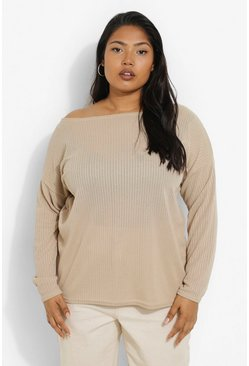 Stone beige Plus Oversized Rib Long Sleeve T-Shirt