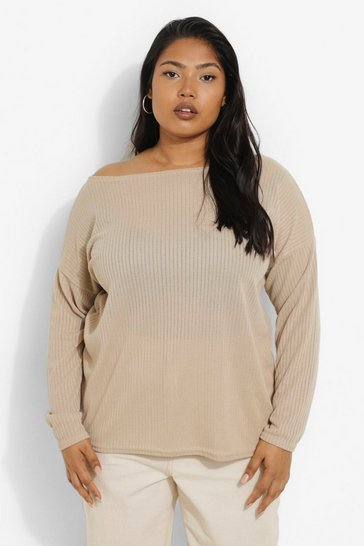 Stone beige Beige Plus Oversized Rib Long Sleeve T-Shirt