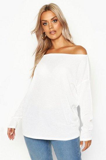 White Plus Oversized Rib Long Sleeve T-Shirt