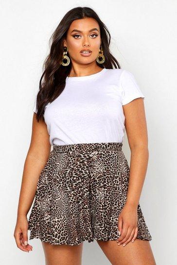 Brown Plus Leopard Floaty Shorts