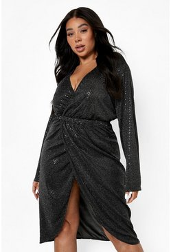 Black Plus Sequin Wrap Plunge Midi Dress