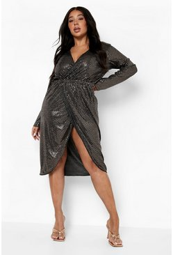 Rose gold metallic Plus Sequin Wrap Plunge Midi Dress