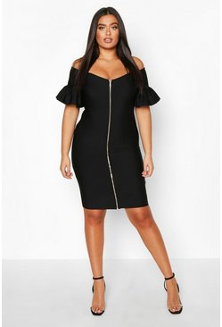 Black Plus Sculpt Bandage Off The Shoulder Zip Midi Dress
