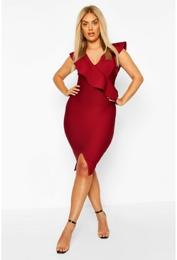 Black Plus Sculpt Ruffle Bandage Dress