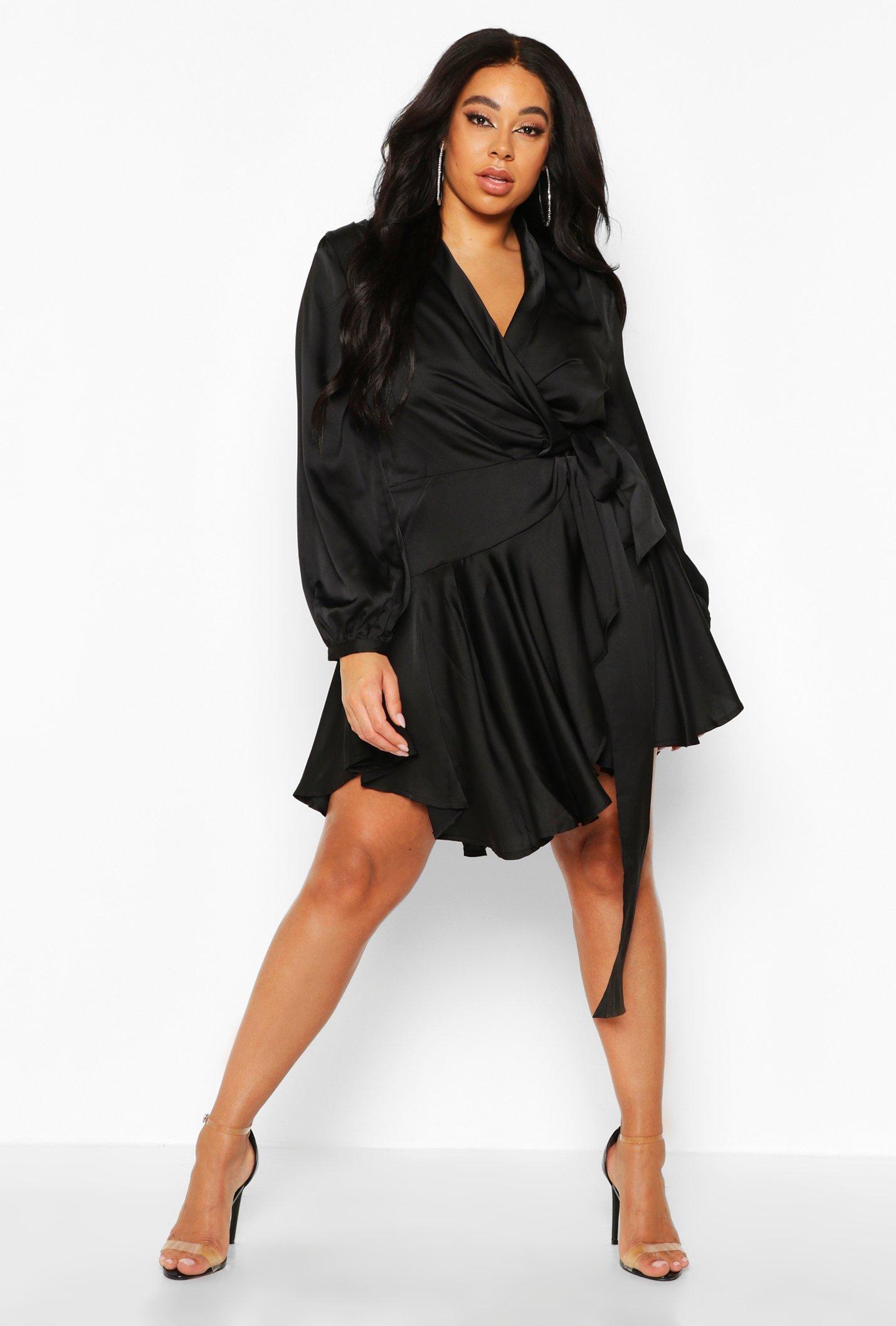 Plus Satin Ruffle Wrap Dress 8