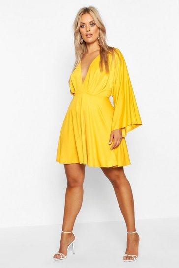 Mustard yellow Plus Plunge Kimono Sleeve Skater Dress