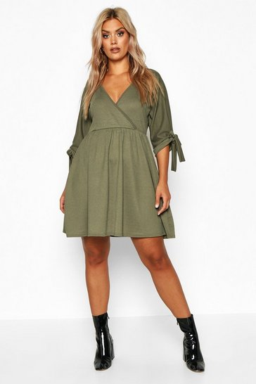 Khaki Plus Tie Sleeve Wrap Smock Dress