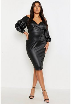 Black Plus Leather Look Off Shoulder Midi Dress