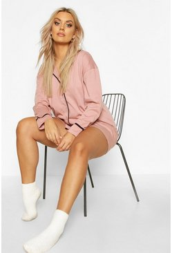 Blush pink Plus Long Sleeve Button Jersey T-Shirt PJ Set