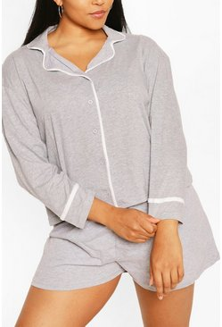 Grey Plus Long Sleeve Button Jersey T-Shirt PJ Set