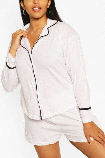 White Plus Long Sleeve Button Jersey T-Shirt PJ Set
