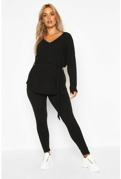 Black Plus Soft Rib Top & Legging Co-Ord