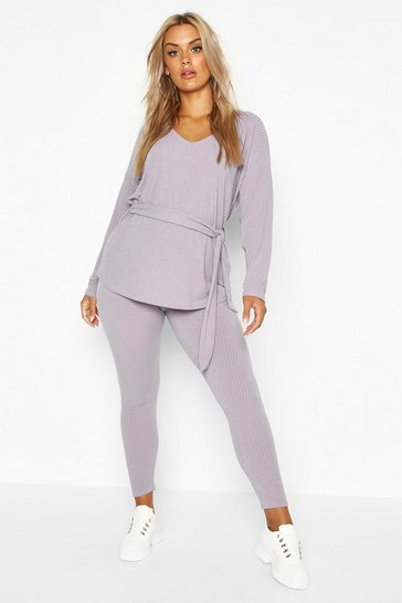 Grey Plus Soft Rib Top & Legging Co-Ord