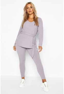 Grey Plus Soft Rib Top and Legging Co-Ord
