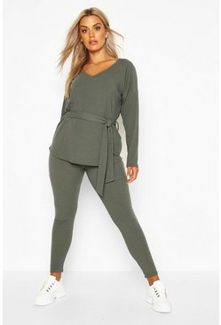 Khaki Plus Soft Rib Top & Legging Co-Ord