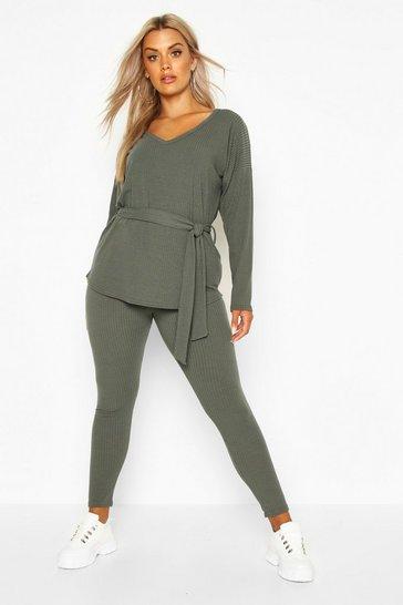 Khaki Plus Soft Rib Top and Legging Co-Ord