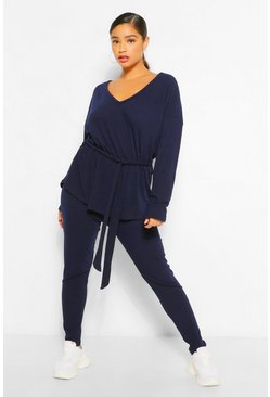 Navy Plus Soft Rib Top and Legging Co-Ord
