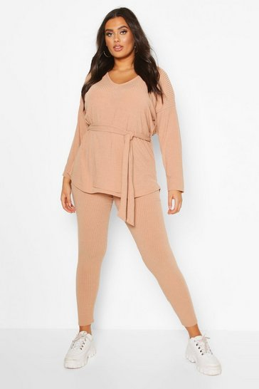 Stone beige Plus Soft Rib Top and Legging Co-Ord