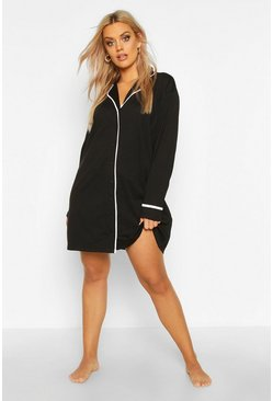 Black Plus Button Through Night Shirt Dress