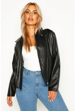 Black Plus Faux Leather Pu Jacket